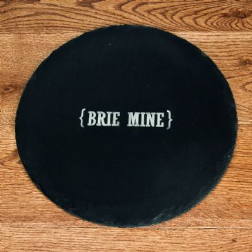 Open Personalisation Swirl Brackets Round Slate Cheese Board